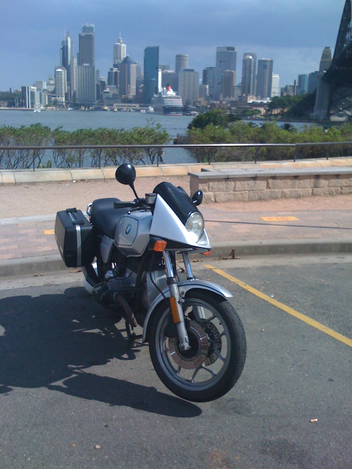 Here the BMW R65LS dwarfs the ocean liner <i>Queen Victoria</i>.